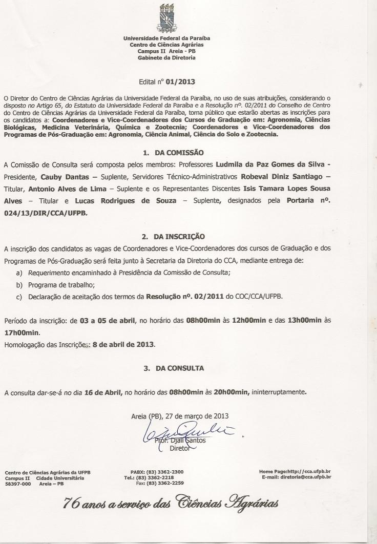 Edital nº01.2013