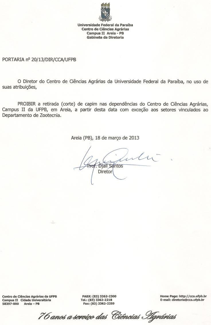 Portaria nº 20.13.DIR.CCA.UFPB